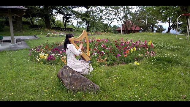 自然の中で小さなハープ演奏